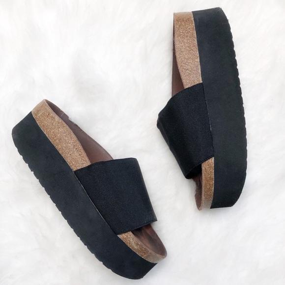 35431a718a Sixtyseven Shoes   Black Cork Platform Sandals   Poshmark